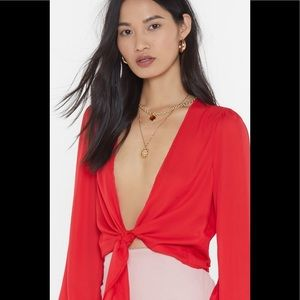 Nasty Gal Tops - Hang Me Up to Dry Tie Red Blouse